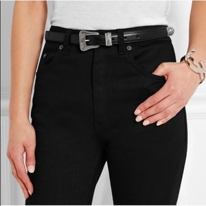 St Laurent Skinny Black Belt